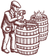 French Oak Cooperage Illustration